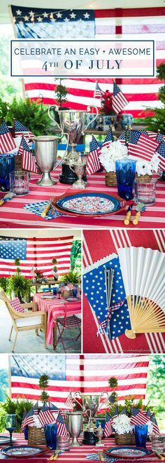 Celebrate an Easy and Awesome 4th of July with this Ralph Lauren inspired red white & blue table! Paper plates make this festive and budget-friendly! via @jencarrollva