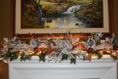 Lit Rustic Garland, Rustic Hearth Garland, Christmas Garland, Winter Garland, Mantle Garland, Rustic Mantle Garland, Pine Garland by TheBloomingWreath on Etsy Mantle Garland, Pine Garland, Christmas Ribbon, Rustic Christmas, Merry Christmas, Rustic Mantle, Amazing Red, Christmas Decorations, Table Decorations