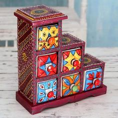 Novica Handmade Mango Wood Ceramic 'Burgundy Gujurat' Decorative Box with Drawers (India) (Solid), Blue Painted Sofa, Painted Sideboard, Painted Drawers, Hand Painted Furniture, Painting Furniture, Mosaic Planters, Cheap Furniture Stores, Ceramic Boxes, India Colors