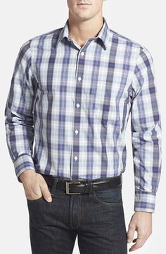 Men's Big & Tall Nordstrom Regular Fit Plaid Sport Shirt