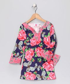 Take a look at this #fall Pink & Navy Butterfly Tunic - Infant & Girls by Chatti Patti on #zulily today!