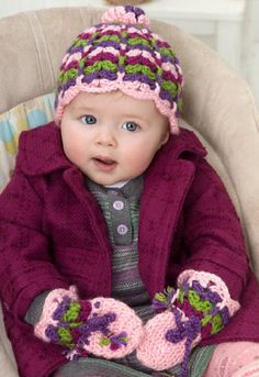 Red Heart® Soft™ Scalloped Baby Hat and Mittens #crochet #pattern