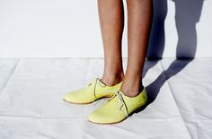 Neon Yellow patent leather lace up oxfords