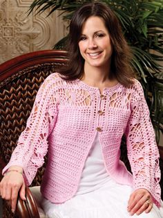 Lace Yoke Cardigan Crochet Pattern Download from e-PatternsCentral.com -- An airy spiderweb pattern on the yoke and sleeves gives cool, breathable comfort to this versatile little top that's every bit as sweet as its cotton-candy pink color.