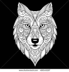 Vector hand drawn doodle wolf head illustration. Zentangle decorative wolf head drawing