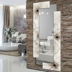 P4004 - Petunia Scomposta di PINTDECOR cm190x80 (Specchio 44x170 cm)  Struttura a doppia-elle decorata a mano con dettagli in resina su materico in rilievo, specchio a sbalzo, affissione orizzontale / verticale, finitura lucida  #specchio #petunia #scomposta #p4004 #pintdecor #specchiera