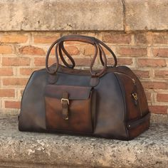 Handcrafted Custom Made Luxury Travel Duffel in Grey, Medium Brown and Dark Brown Painted Calf Leather From Robert August. Create your own custom designed shoes. Custom Made Shoes, Custom Design Shoes, Mens Weekend Bag, Leather Fashion, Mens Fashion, Brown Paint, How To Make Shoes, Medium Brown, Leather Backpack