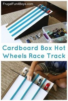 How to Make a Cardboard Box Race Track for Hot Wheels Cars - Frugal Fun For Boys and Girls, Convert a cardboard box (we used a Costco diaper box) into simple race lanes for Hot Wheels cars! This simple race track releases four cars at one ti. Indoor Activities, Toddler Activities, Voitures Hot Wheels, Hot Wheel Autos, Diy For Kids, Crafts For Kids, Baby Crafts, Fun Crafts, Diy Pour Enfants