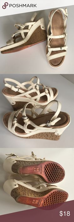 """Uber Cute- Uber Comfy Aerosoles Wedgies size 7 Off white, cream colored wedge sandals by Aerosoles with completely adjustable buckling straps. Cork wedge is 4"""" that tapers to a 1"""" platform. So sexy, cut and comfy... The perfect summer sandal!! AEROSOLES Shoes Sandals"""