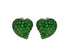 Oorbellen, groene tsavorite