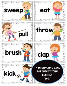 "Perfect for Kindergarten or First Grade. Students will find a verb, add ""ing"" and record. Don't forget to do the motion before finding the next one. $"