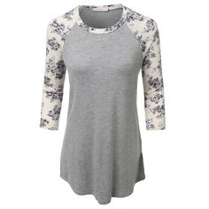 LE3NO Womens Ultrasoft 3/4 Sleeve Floral Graphic Baseball Tee ❤ liked on Polyvore featuring tops, t-shirts, graphic baseball tees, floral tops, baseball tshirt, baseball graphic t shirts and floral print t shirt