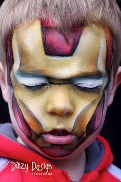Iron man by Daizy Design. Superhero Face Painting, Face Painting For Boys, Face Painting Designs, Painting Tutorials, Makeup Tutorials, Boy Face, Male Face, Iron Man Face Paint, Artistic Make Up