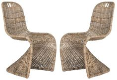 """Wicker rattan side chair with modern lines Measures: 18.5"""" x 17.7"""" x 37.4"""" Rattan Core 3mm And Iron Please allow 2-3 weeks"""
