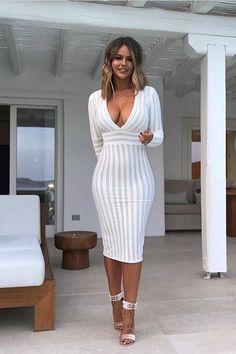 4031a86c984 White Deep V Neck Full Sleeve Bandage Dress