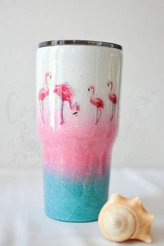 Flamingo Beach Tri Color Glitter Ombre Stainless Steel Insulated Tumbler with the quote the Beach is Calling I Must Go! Diy Tumblers, Insulated Tumblers, Custom Tumblers, Glitter Tumblers, Tumbler Quotes, Flamingo Beach, Crafty Projects, Burlap Projects, Burlap Crafts