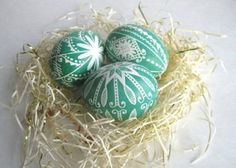set of 3 - Green pysanky, chicken egg shell hand painted. Ukrainian Easter egg, decorated egg batik style by iris