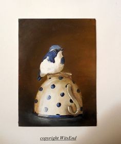 'ULTRAMARINE FLYCATCHER'. Bird Teacup painting original still life art by 4WitsEnd on Etsy