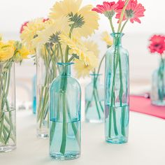 Set of 6 Decorating Glass Bottles (3 Colors) (Wedding Star 9582) | Buy at Wedding Favors Unlimited (http://www.weddingfavorsunlimited.com/set_of_6_decorating_glass_bottles_3_colors.html).