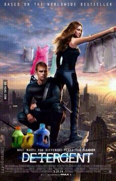 """ANYONE WANNA SEE DETERGENT WITH ME? """"what makes you different makes you cleaner"""" #divergent"""