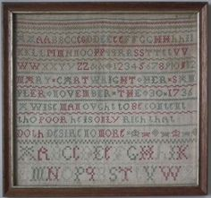 1736 Sampler by Mary Cartwright