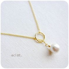 minne(ミンネ)| 一粒コットンパール*ネックレス Pearl Necklace Wedding, Pearl Jewelry, Wire Jewelry, Jewelry Crafts, Beaded Jewelry, Unique Jewelry, Handmade Jewelry, Jewelry Necklaces, Jewelry Design