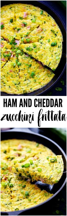 Ham and Cheddar Zucchini Frittata is filled with two cups of zucchini, ham, and…