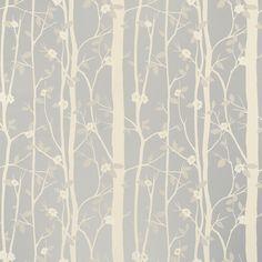 Cottonwood Leaf Metallic Wallpaper, Silver  Laura Ashley