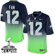 Mens Nike Seattle Seahawks 12th Fan Elite Navy/Green Fadeaway Super Bowl XLVIII NFL Jersey. $120