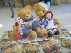Cherished Teddies with their Raggedy Ann and Andy dolls....