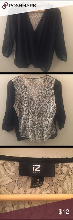 Sheer 3/4 Length Top w/ Decorated Back Cute business casual 3/4 Length Top. Sheer, design on back. Layer with a black tank for perfect office attire. Iz Byer Tops Blouses