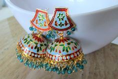 Indian blue red and green chandelier beaded jhumka earrings Indian Jewelry Earrings, Indian Jewelry Sets, Silver Jewellery Indian, Jewelry Design Earrings, Indian Wedding Jewelry, Indian Jewellery Design, Ear Jewelry, Jewelery, Amrapali Jewellery