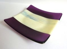 Square Fused Glass Plate in Stripes of Violet and Cream by bprdesigns on Etsy