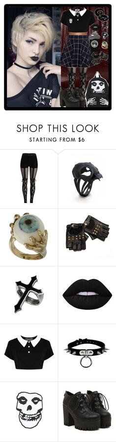 """""""I'm a Misfit (:"""" by chemicalfallout249 on Polyvore featuring Lime Crime, Killstar, goth, gothic and alternative"""