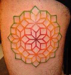 Geometric color spectrum mandala tattoo. Love how the colors bleed into one another.