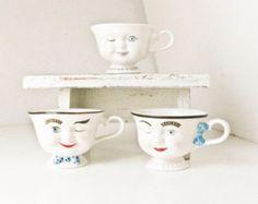 3 Bailey's Coffee Cups, Tea Cups, Face Mugs