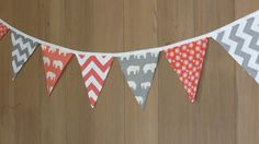 Coral and Grey Elephants Fabric Bunting Banner, Pennant Flags, Photo Prop, Party Decoration, Nursery Room Decor, Modern Chevron