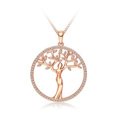 """Tree of Life CZ Pendant Necklace, Rose Gold Plated Eternal Fashion Jewelry, Christmas Gift for Women, 18"""""""