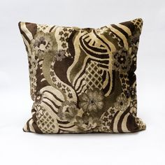 Brown Floral Mid Century velvet upholstery fabric pillow cover  45x45 - 18x18 - pinned by pin4etsy.com