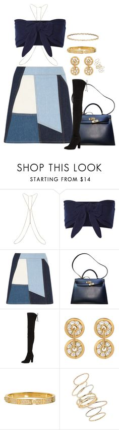 """""""Untitled #2881"""" by moxfordf on Polyvore featuring Miss Selfridge, Solid & Striped, Victoria, Victoria Beckham, Hermès, Stuart Weitzman, Cartier and BP."""