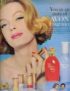 Knock-knock, it's the ravishingly gorgeous Avon Lady calling. #vintage #1960s #feminine #retro #style #fashion #Avon #cosmetics #make-up #ads