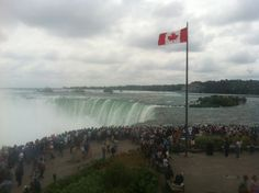 Horseshoe falls, Niagara Falls, Canadian side. I was surprised that it was so loud and by the masses of water. It was also funny as together with us, there was an Amway field trip from India. All of them wore the same clothes.
