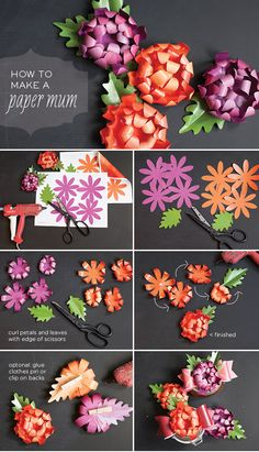 DIY Paper Mum Tutorial cut the flowers and leaves with the SNC Paper Flower Tutorial, Paper Flowers Diy, Handmade Flowers, Flower Crafts, Diy Paper, Fabric Flowers, Paper Crafts, Origami, Diy Fleur Papier