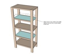 Build your own rustic bookshelf with our free plans. Features four large shelves and x detailing on the ends. Step by step plans from Ana White Tall Bookshelves, Tall Shelves, Rustic Bookshelf, Bookshelf Plans, Large Shelves, Bookshelf Styling, Bookshelf Diy, Furniture Plans, Diy Furniture