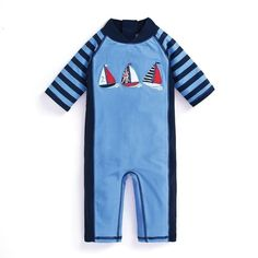 B1G1 Free Jojo Maman Bebe Blue Stripe Sun Protection Suit