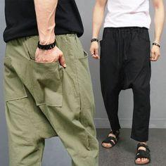 Over Drop Crotch Linen Baggy Sweatpants
