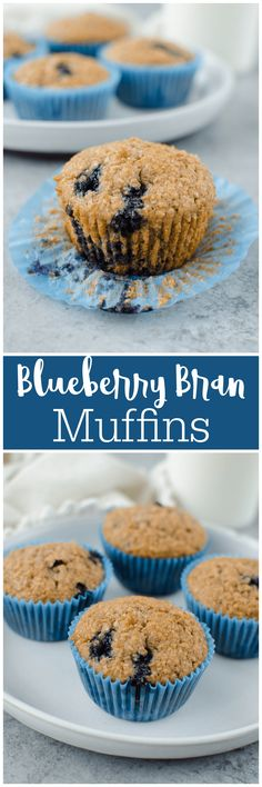 Blueberry Bran Muffins - healthy and hearty muffins made with Greek yogurt, wheat bran, and fresh blueberries. Best Breakfast Recipes, Sweet Breakfast, Breakfast Time, Brunch Recipes, Breakfast Ideas, Sweet Recipes, Yummy Recipes, Yummy Food, Healthy Recipes