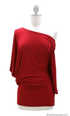 3/4 Sleeve Jersey Off the Shoulder Top, Draped Arm-Red - OFF THE SHOULDER!