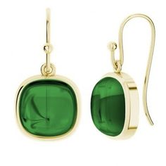 Emerald 9ct Yellow Gold Square Gemstone Earrings