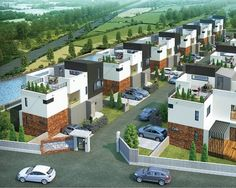 House Architecture Styles, Futuristic Architecture, Sustainable Architecture, Row House Design, Modern House Design, Gate House, Facade House, Townhouse Exterior, Urban Design Plan